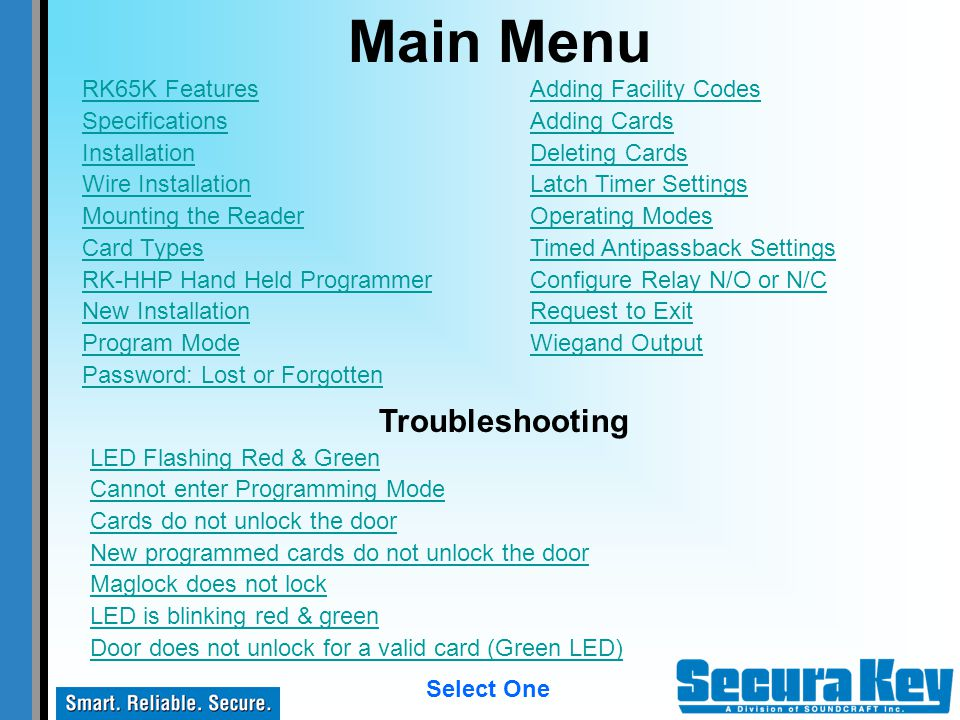 Main Menu Troubleshooting RK65K Features Specifications Installation