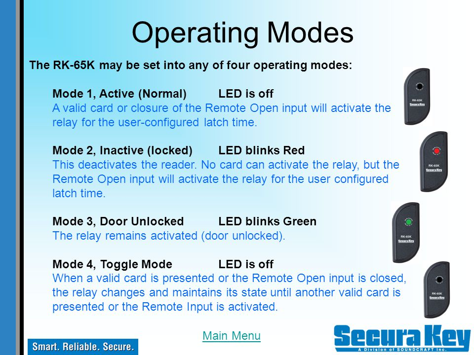Operating Modes The RK-65K may be set into any of four operating modes: Mode 1, Active (Normal) LED is off.