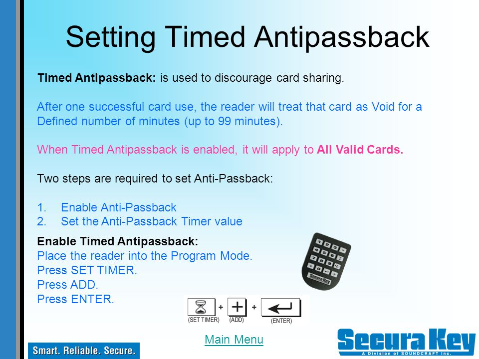 Setting Timed Antipassback