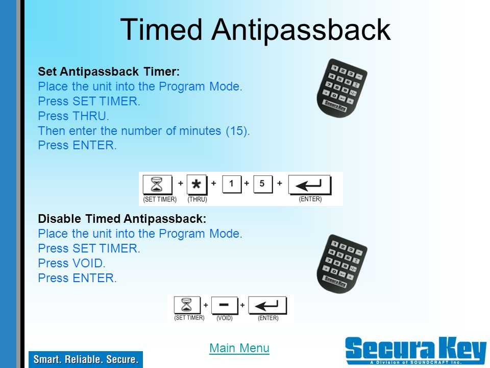 Timed Antipassback Set Antipassback Timer:
