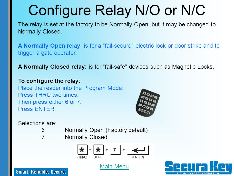 Configure Relay N/O or N/C
