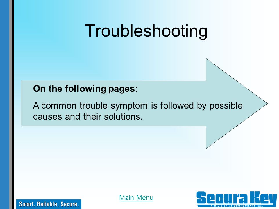 Troubleshooting On the following pages: