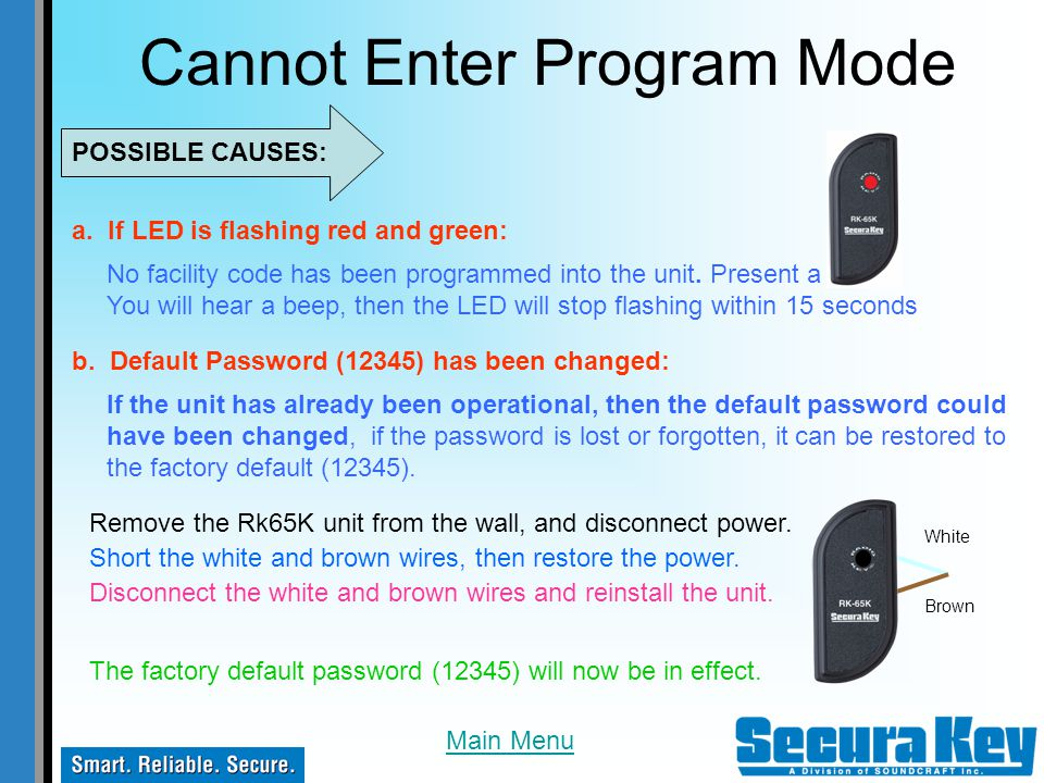 Cannot Enter Program Mode