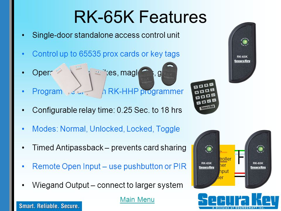 RK-65K Features Single-door standalone access control unit