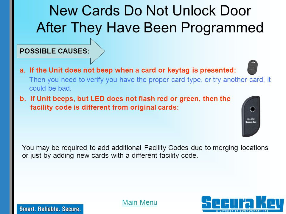 New Cards Do Not Unlock Door After They Have Been Programmed