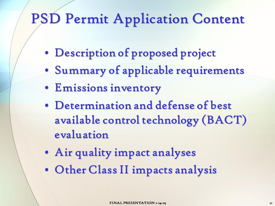 PSD Permit Application Content
