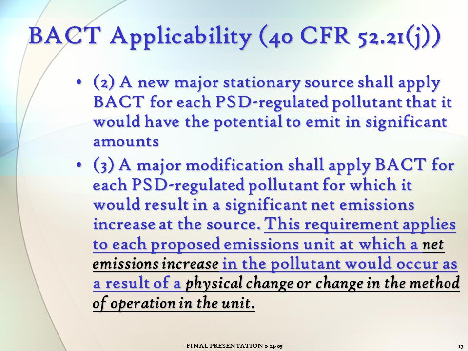 BACT Applicability (40 CFR 52.21(j))