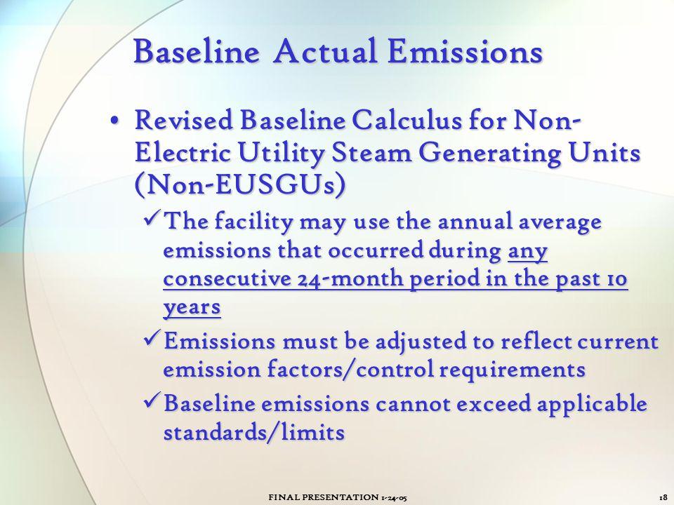 Baseline Actual Emissions