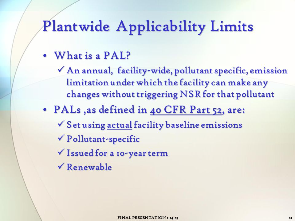 Plantwide Applicability Limits