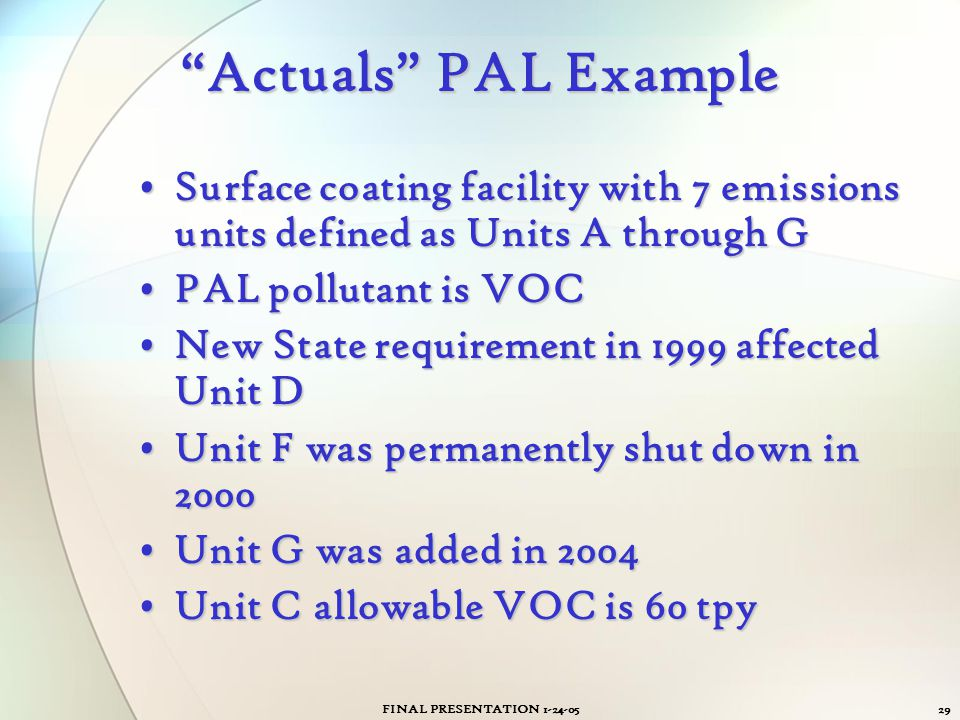 Actuals PAL Example Surface coating facility with 7 emissions units defined as Units A through G.