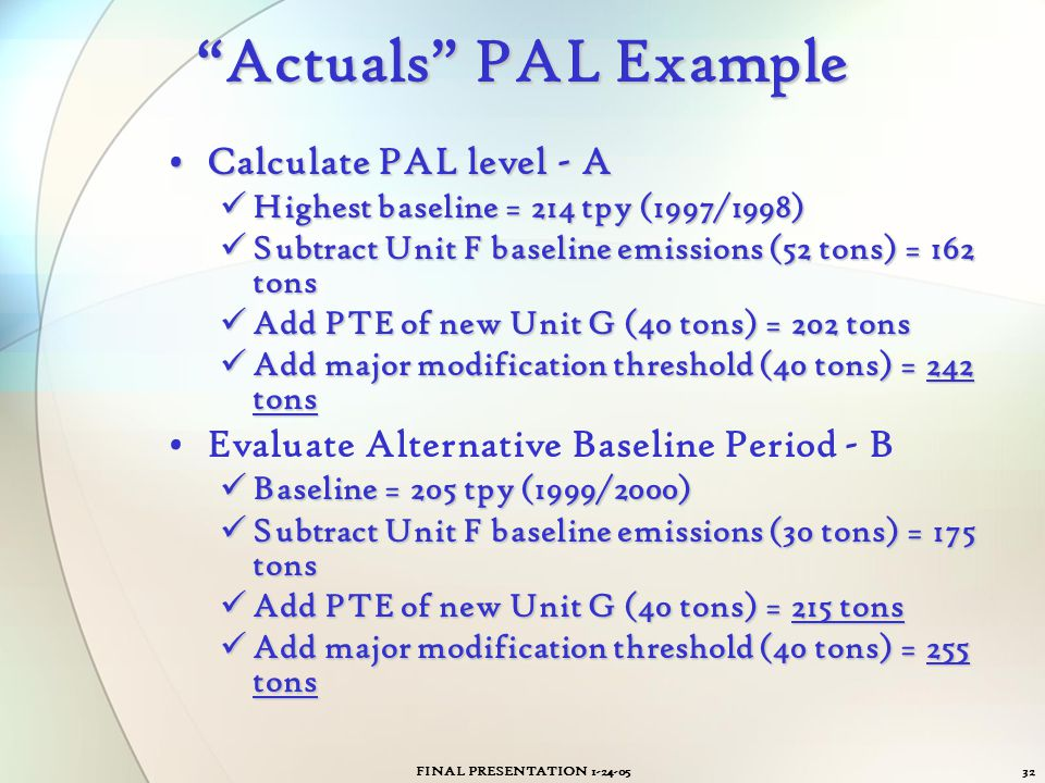 Actuals PAL Example Calculate PAL level - A