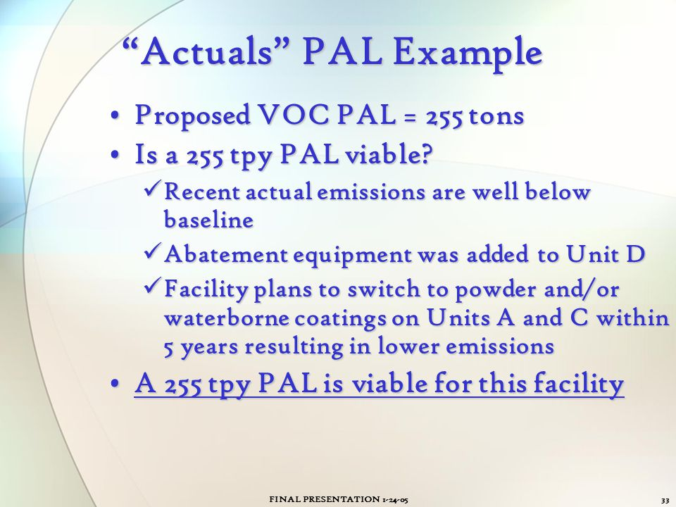 Actuals PAL Example Proposed VOC PAL = 255 tons
