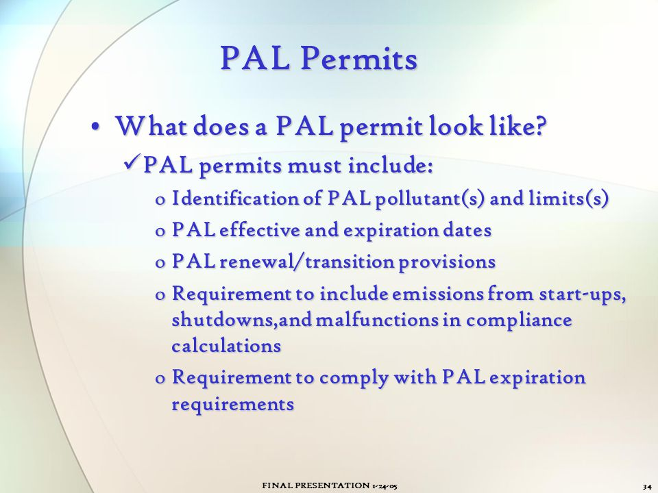 PAL Permits What does a PAL permit look like