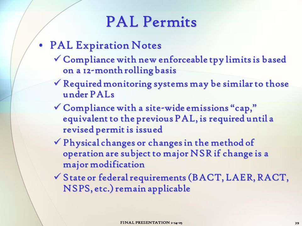 PAL Permits PAL Expiration Notes