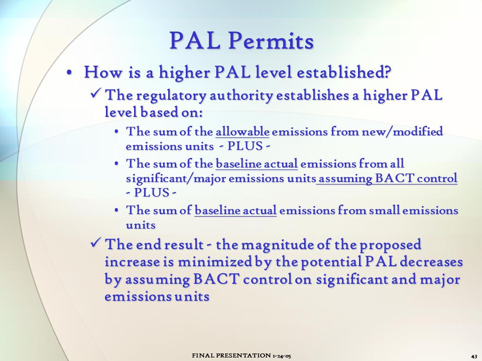 PAL Permits How is a higher PAL level established