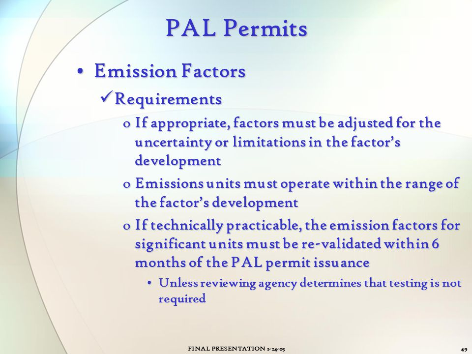 PAL Permits Emission Factors Requirements