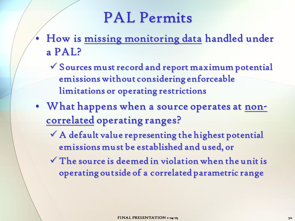 PAL Permits How is missing monitoring data handled under a PAL