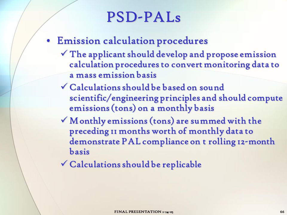 PSD-PALs Emission calculation procedures