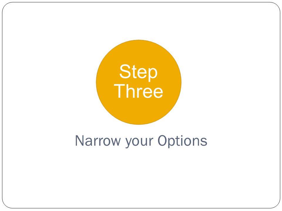 Step Three Narrow your Options