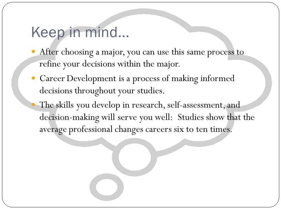 Keep in mind… After choosing a major, you can use this same process to refine your decisions within the major.