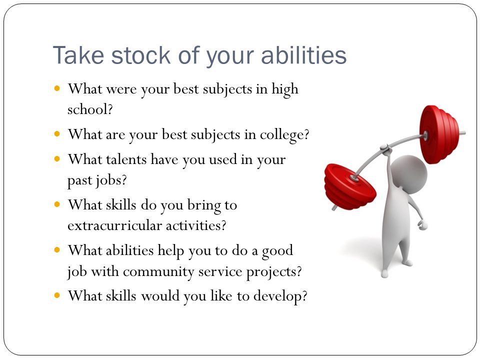 Take stock of your abilities