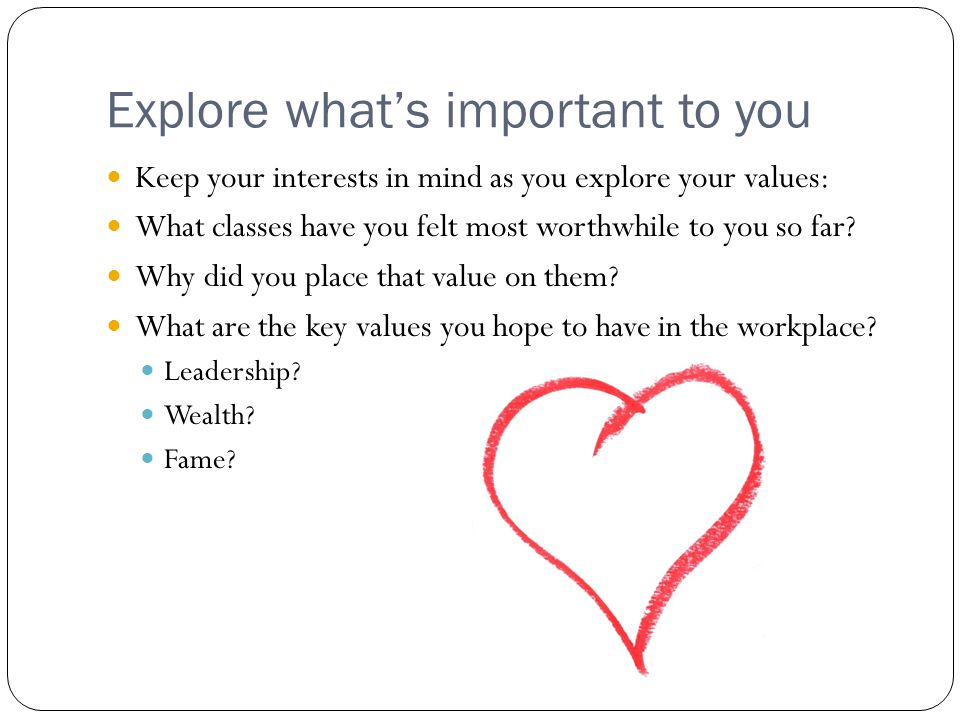 Explore what's important to you