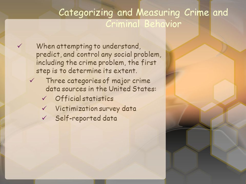 Categorizing and Measuring Crime and Criminal Behavior