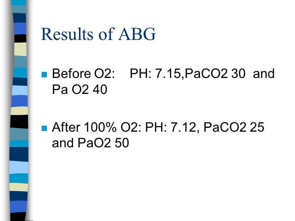 Results of ABG Before O2: PH: 7.15,PaCO2 30 and Pa O2 40