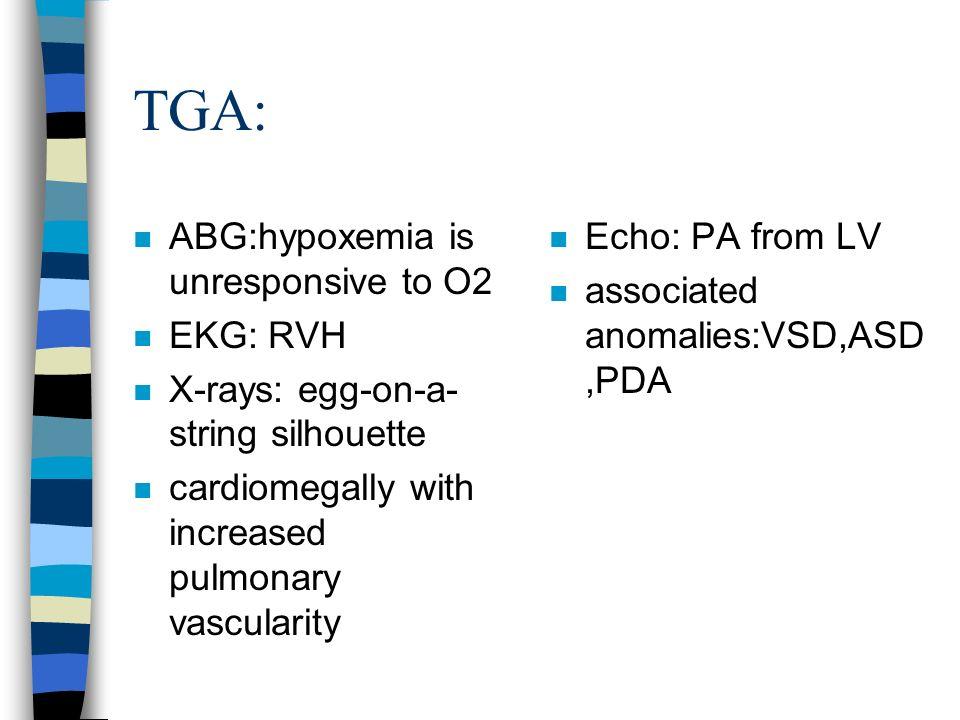 TGA: ABG:hypoxemia is unresponsive to O2 EKG: RVH