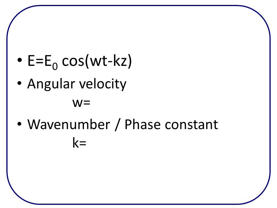 E=E0 cos(wt-kz) Angular velocity w= Wavenumber / Phase constant k=
