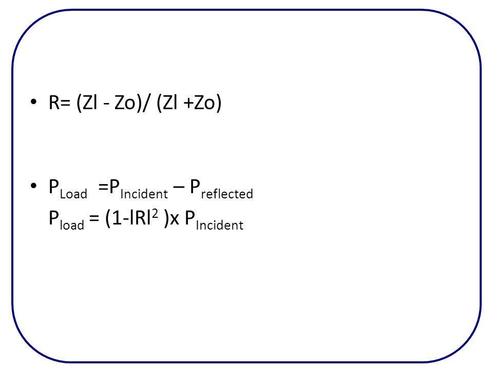 R= (Zl - Zo)/ (Zl +Zo) PLoad =PIncident – Preflected Pload = (1-lRl2 )x PIncident
