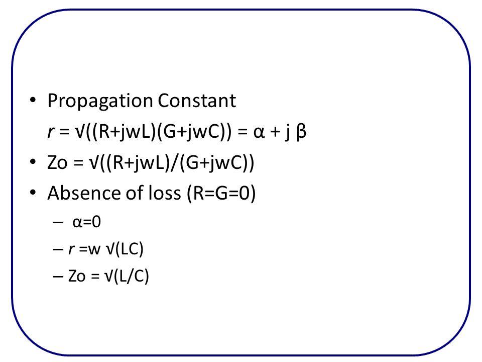 r = √((R+jwL)(G+jwC)) = α + j β Zo = √((R+jwL)/(G+jwC))