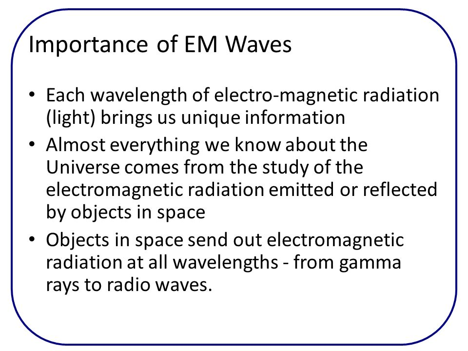 Importance of EM Waves Each wavelength of electro-magnetic radiation (light) brings us unique information.