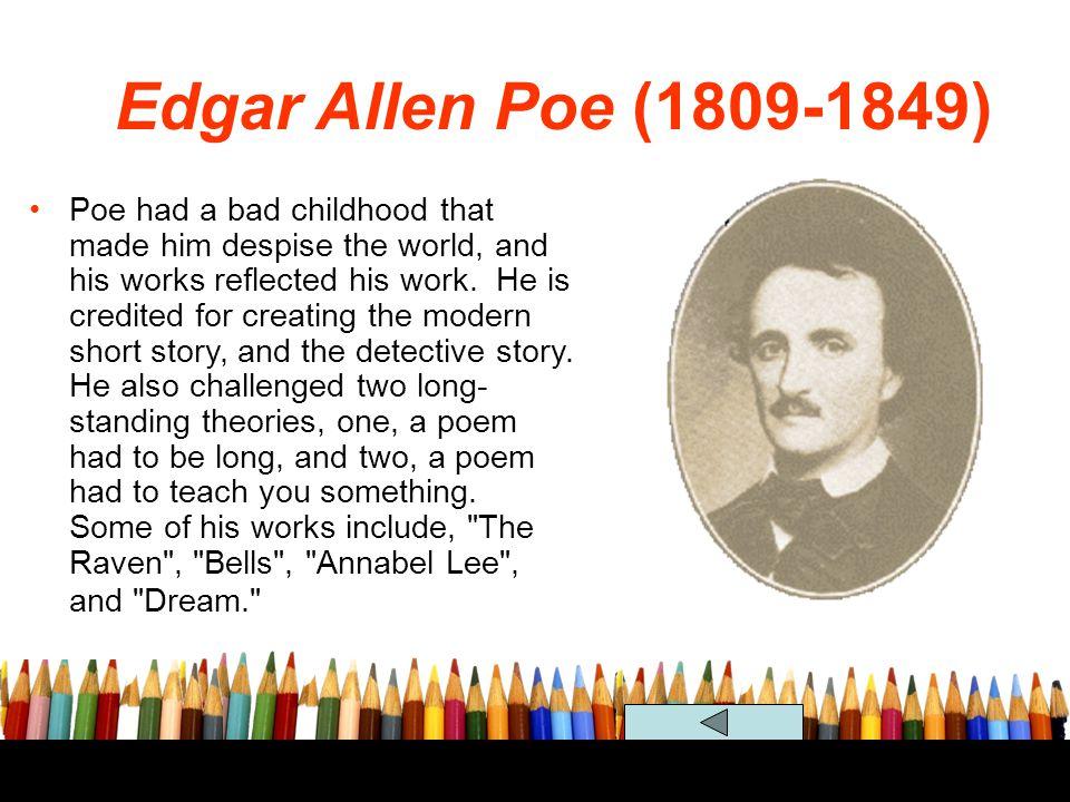 Edgar Allen Poe (1809-1849) Romanticism