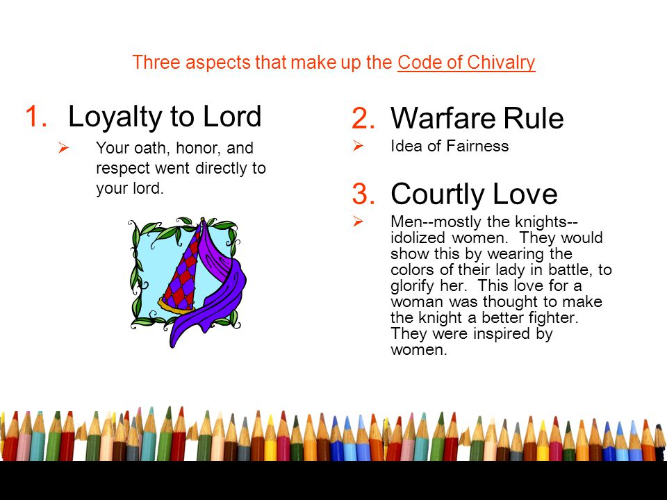 Three aspects that make up the Code of Chivalry