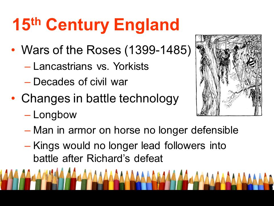 15th Century England Wars of the Roses (1399-1485)