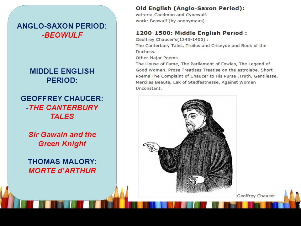 MIDDLE ENGLISH PERIOD: