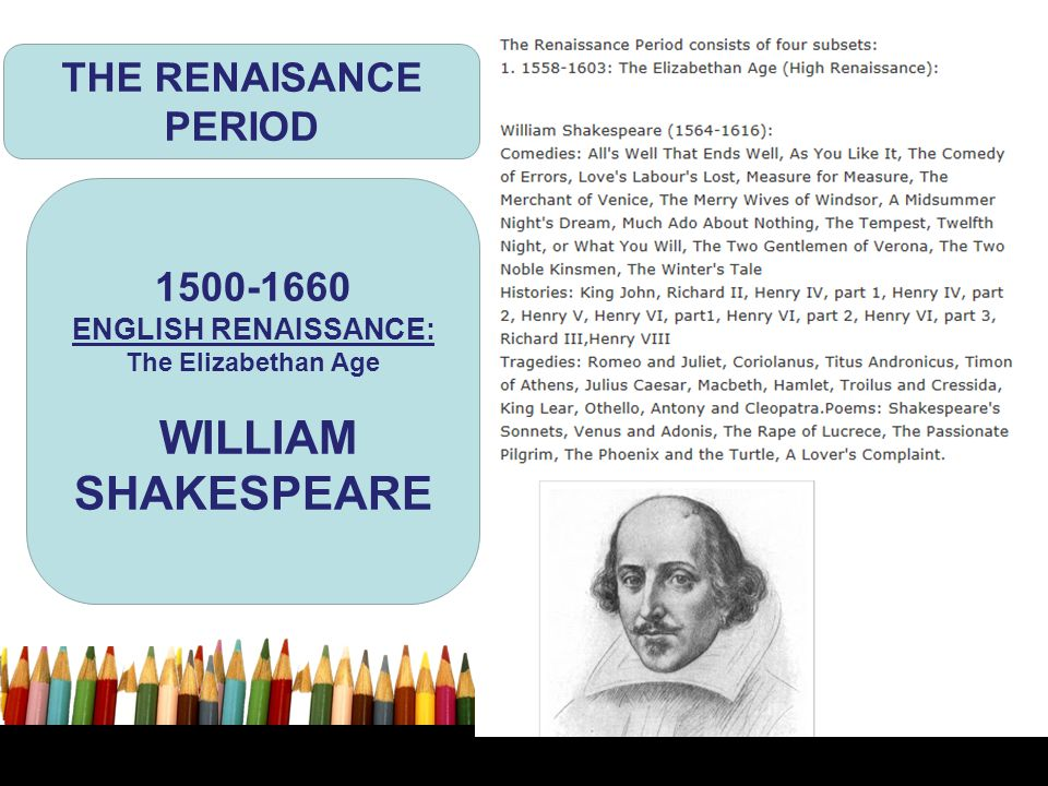 WILLIAM SHAKESPEARE THE RENAISANCE PERIOD 1500-1660