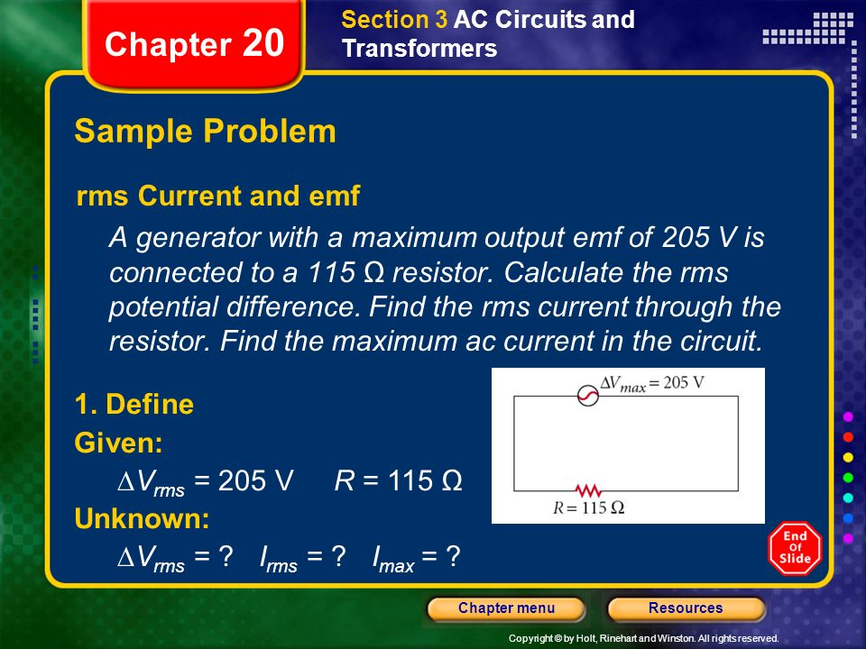 Chapter 20 Sample Problem rms Current and emf