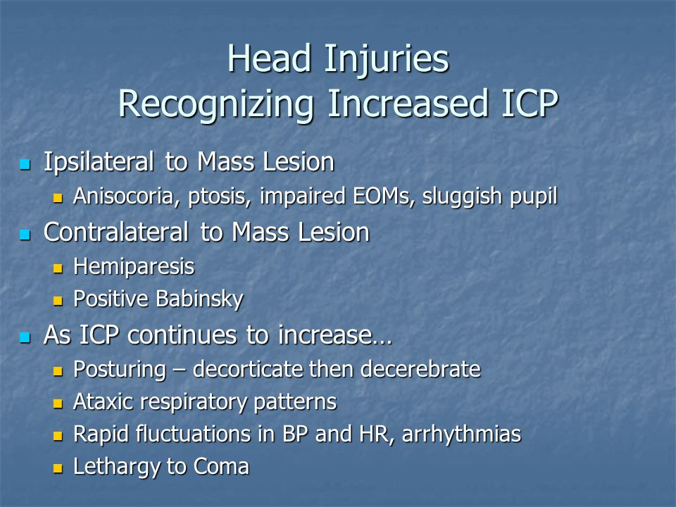 Head Injuries Recognizing Increased ICP