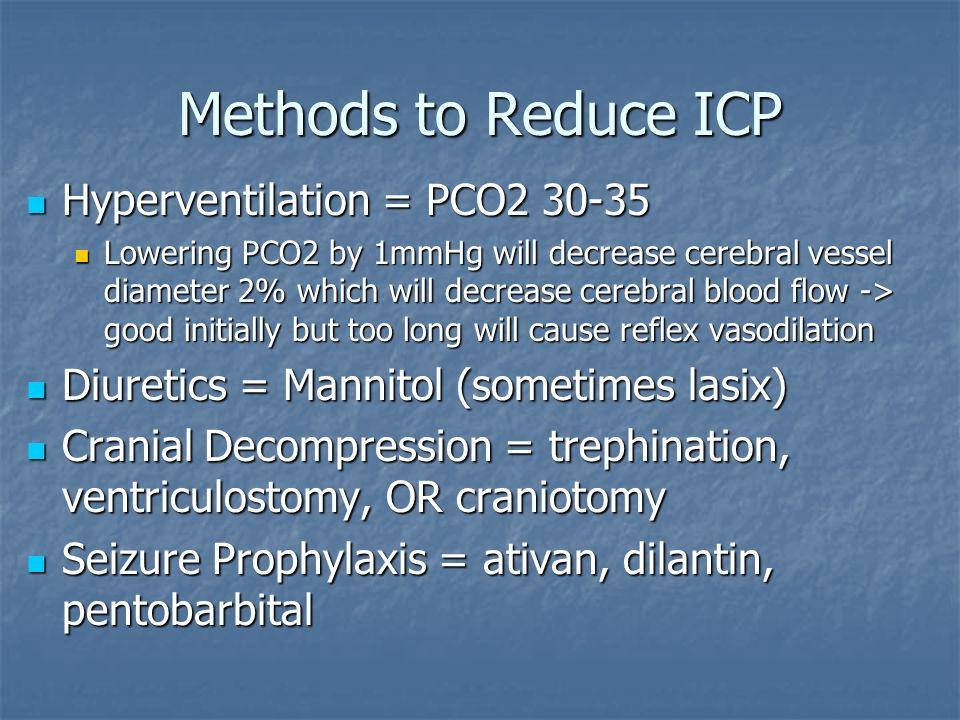 Methods to Reduce ICP Hyperventilation = PCO2 30-35