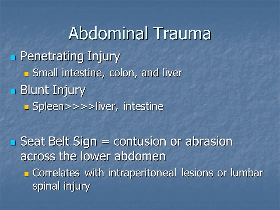 Abdominal Trauma Penetrating Injury Blunt Injury