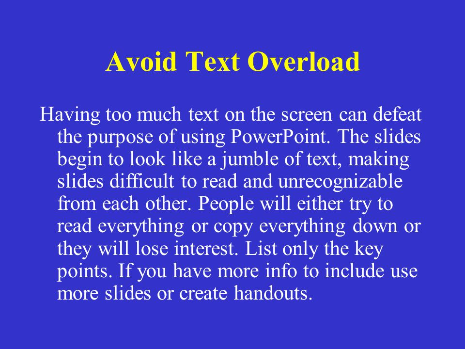 Avoid Text Overload