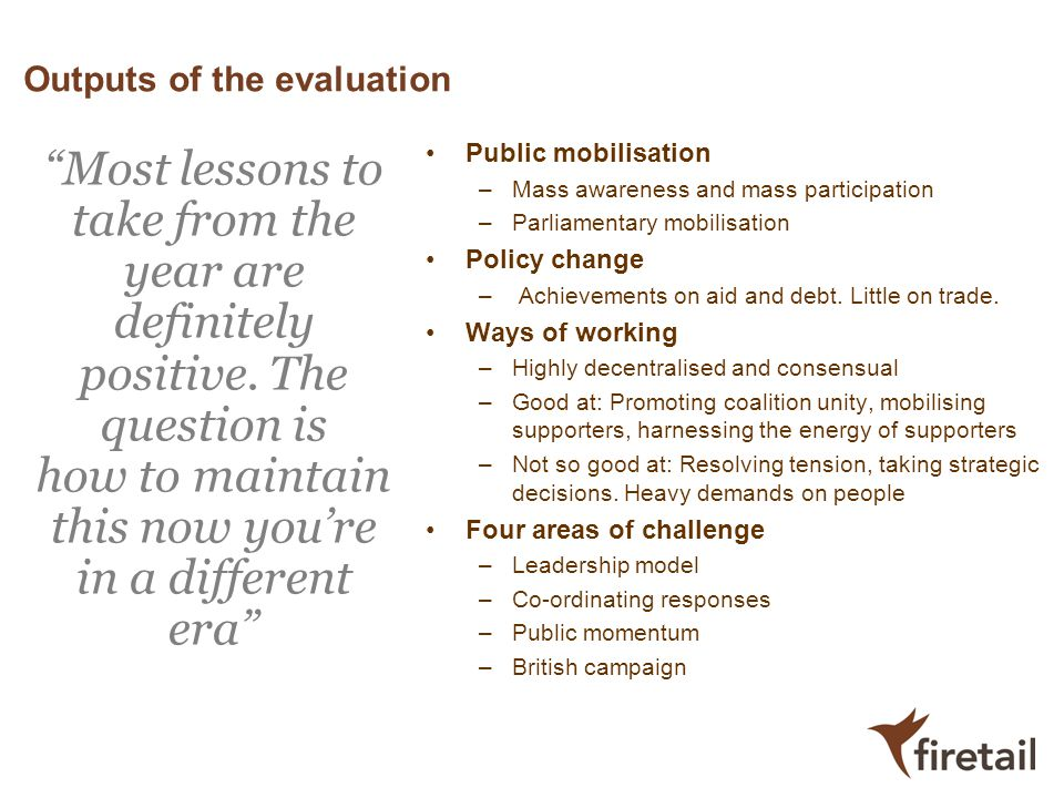 Outputs of the evaluation