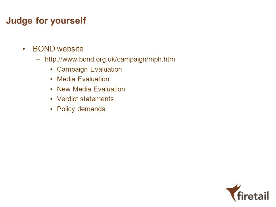 Judge for yourself BOND website