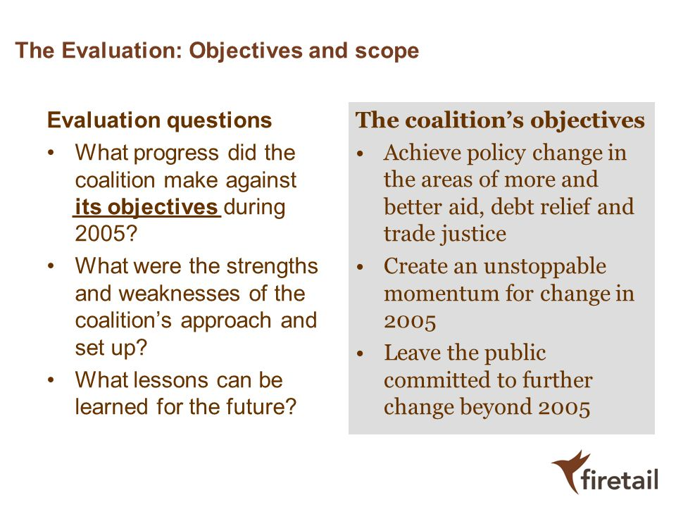 The Evaluation: Objectives and scope