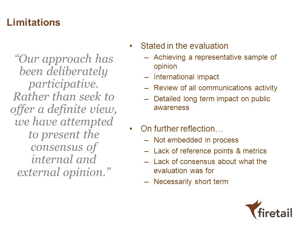 Limitations Stated in the evaluation. Achieving a representative sample of opinion. International impact.