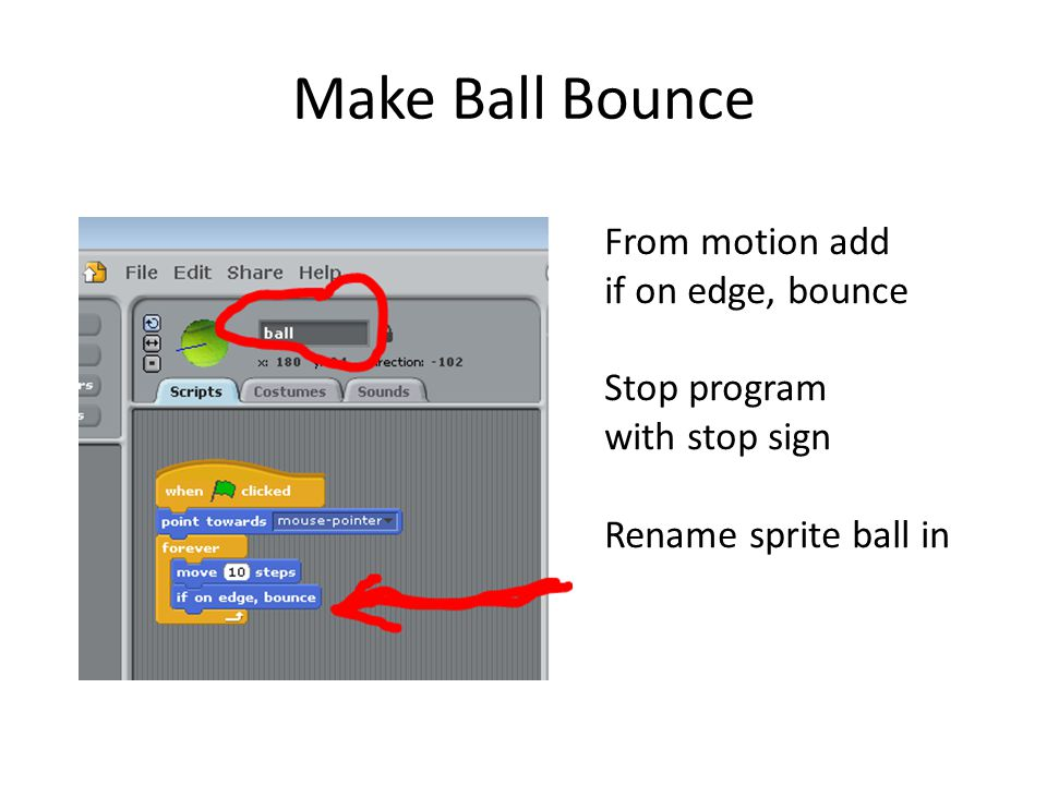 Make Ball Bounce From motion add if on edge, bounce Stop program