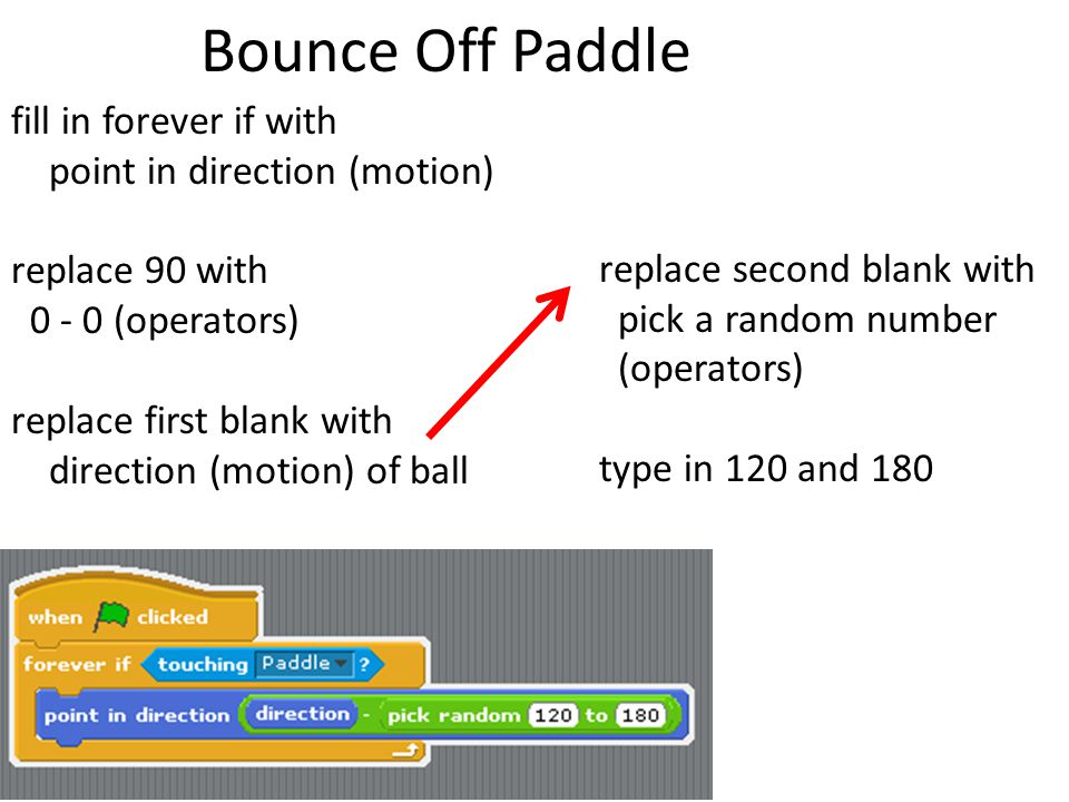 Bounce Off Paddle fill in forever if with point in direction (motion)