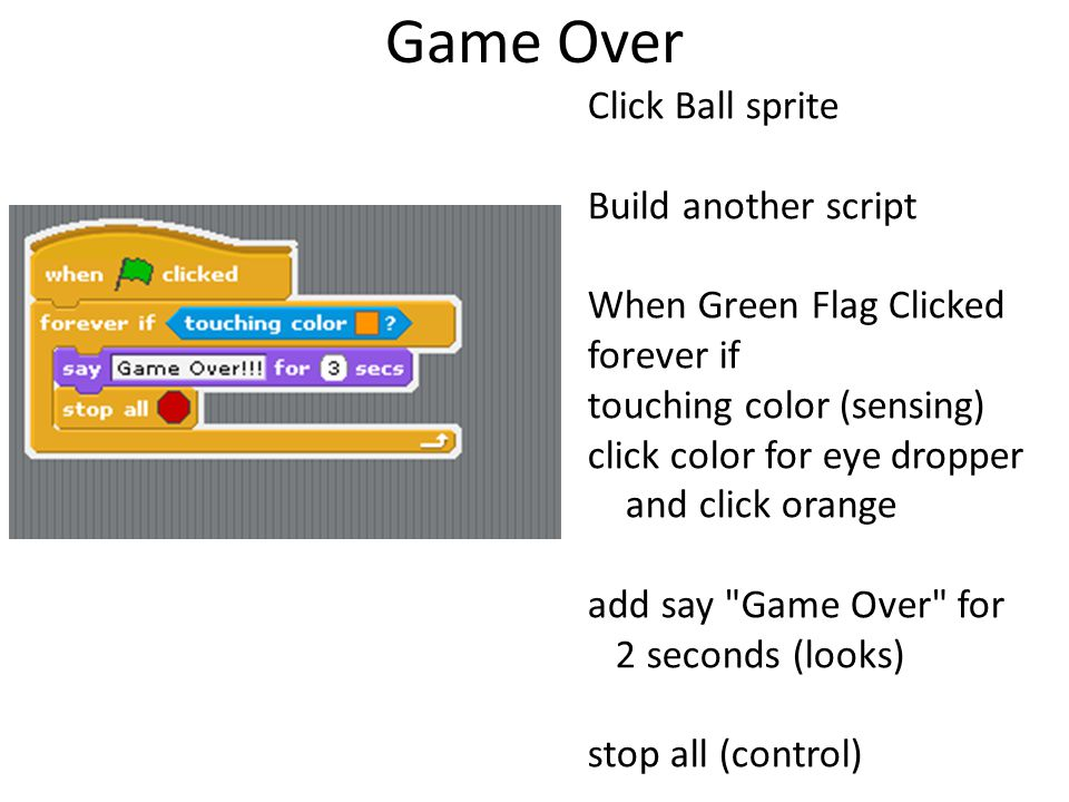 Game Over Click Ball sprite Build another script